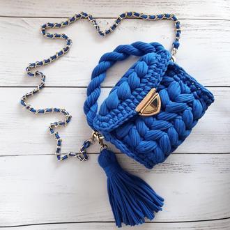 Вязанная сумка через плечо, кросс-боди, сумка из трикотажной пряжи
