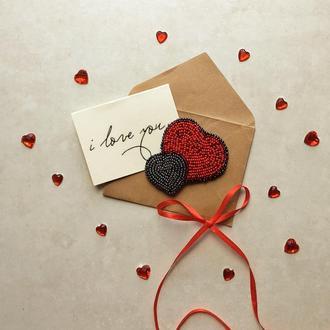 Брошка Сердце Брошь из бисера  Красная  брошка Подарок для девушки