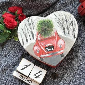 Сердечко-валентинка с елкой с записками 100 причин почему я тебя люблю