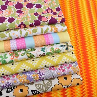 Цветочный набор ткани для рукоделия оранжевый - 8 отрезов 25*25 см