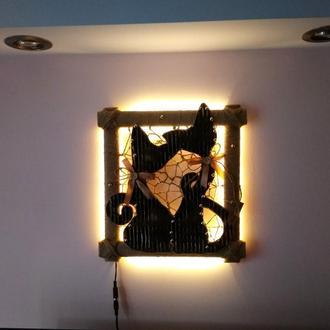 Настенное декоративное панно светильник Коты
