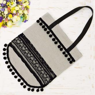 "Эко-сумка шоппер ""Lace"" бежевая"