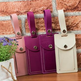Кожаная бирка на багаж розового цвета