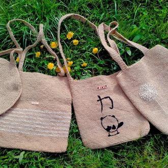 Вязаные эко сумки, ковры и предметы декора из 100% конопли.