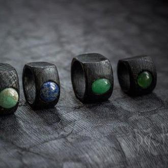 Перстеники з гладкими мінералами - круг - овал - кольцо из дерева с разными камнями
