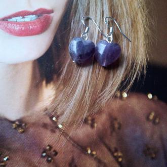 фиолетовые серьги сердечки серебро серебряные серьги из аметиста Натуральный аметист сердце