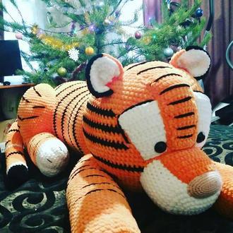 Тигр игрушка МЕТРОВЫЙ плюшевая крючком