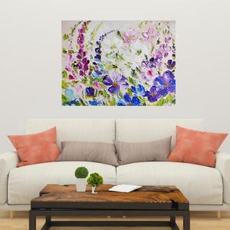 Картина абстракция цветы