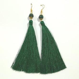 Серьги кисти темно-зеленые длина 11 см и 15 см, серьги кисточки шелк