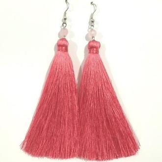 Серьги кисти Розовые длина 11 см и 15 см, серьги кисточки шелк