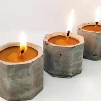 Набор натуральных свечей из пчелиного воска в баночке из бетонна, медовые декоративные свечи