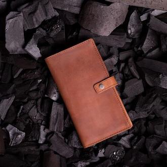 Кожаное портмоне Эдвард с клапаном в светло-коричневом цвете от мастерской Hidemont 0171