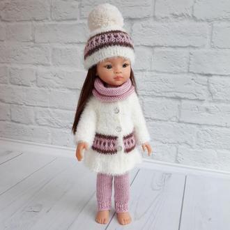 Вязаная одежда на Паолу 32 см, подарок девочке, шубка для куклы