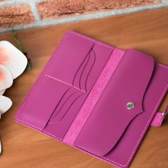 Розовый кожаный женский кошелек, Кожаный кошелек с гравировкой, Подарок для девушки