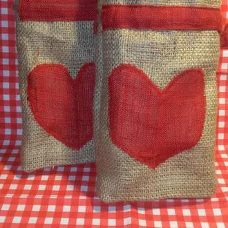 Мешочек подарочный,  Эко мешки, Эко торбиночки, упаковка для подарков. Мішечки з мішковини