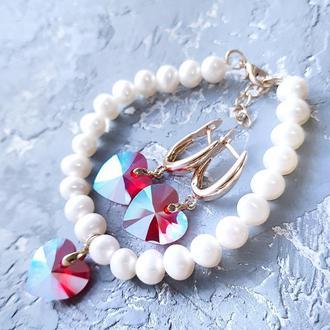 Натуральні перли та Swarovski  комплект браслет та сережки у позолоті подарунок на 8 березня дівчині