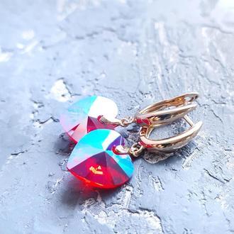 Позолоченные серьги с кристаллами Swarovski сердце подарок на день Валентина девушке