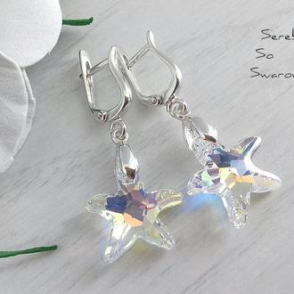 Серебряные серьги Swarovski Морская звезда