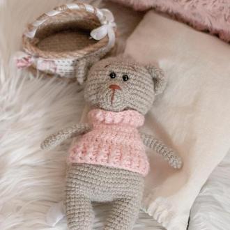 Игрушка мягкая вязаная мишка в розовом свитере подарок девочке на день рождения