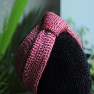 Весняна рожева золотиста повязка чалма вузол