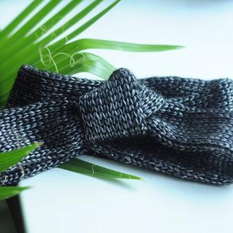 Весенняя повязка чалма с узлом серебристо черная