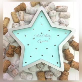 Ночник Звезда для детской комнаты ручной работы из дерева (эксклюзив)