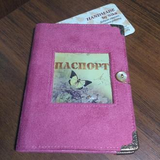 Обложка на паспорт из эко-замши с окошечком