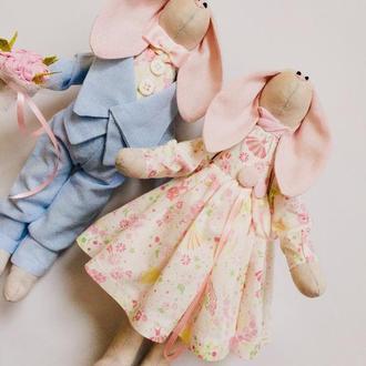Пара заек тильда небесно-розовые, оригинальный подарок маме подруге сестре дочке коллеги