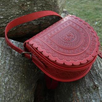 сумка кожаная красная Тобивка