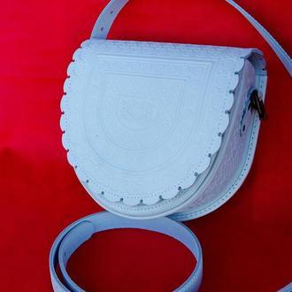 сумка кожаная белая Тобивка