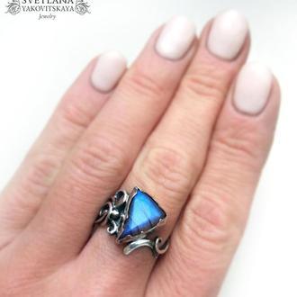 """Серебряное кольцо """"Ayra"""" с синим лабрадором"""