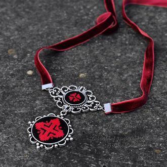 Красный чокер на ленте Красно черное колье с вышивкой Этно украшение к вышиванке
