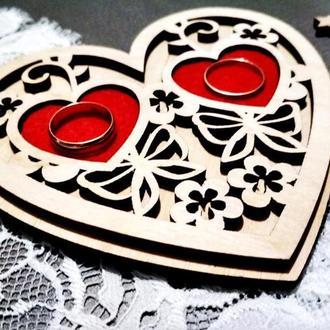 Свадебная деревянная шкатулка Свадебное блюдце Персонализированная подушка для колец Помолвка