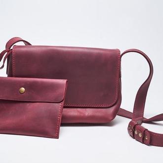 """Кожаная женская сумка кросс-боди с косметичкой марсала """"CrossBody"""" от «pan Krepko»"""
