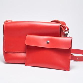 """Кожаная красная женская сумка кросс-боди с косметичкой """"CrossBody"""" от «pan Krepko»"""