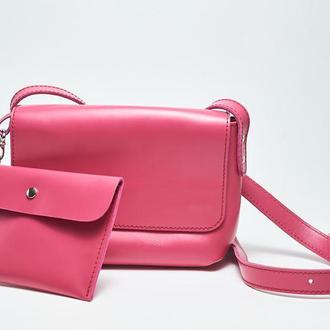 """Кожаная розовая женская сумка кросс-боди с косметичкой """"CrossBody"""" от «pan Krepko»"""