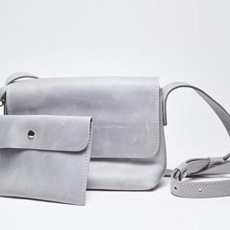 """Кожаная серая женская сумка кросс-боди с косметичкой """"CrossBody"""" от «pan Krepko»"""