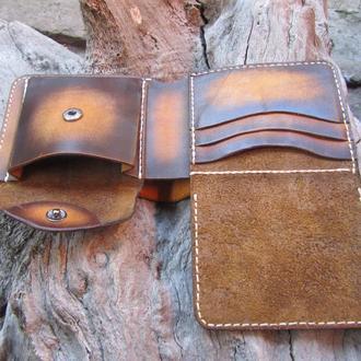кожаный мужской кошелек с окошком для прав,именной кошелек для мужчин,подарок мужу,двойной кошелек