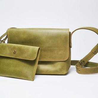 """Кожаная зеленая женская сумка кросс-боди с косметичкой """"CrossBody"""" от «pan Krepko»"""