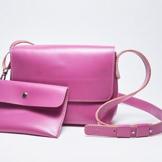 """Кожаная сиреневая женская сумка кросс-боди с косметичкой """"CrossBody"""" от «pan Krepko»"""