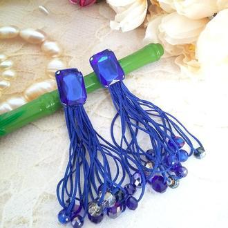 Длинные серьги кисти с хрустальными бусинами и стразами синие