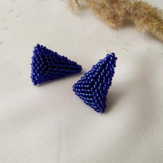 Серги пусеты синие триугольники Серги гвоздики Подарок девушке