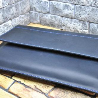 Чехол для ноутбука 13 дюймов  из натуральной кожи crazy horse HN01-600+blue