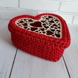 Корзина из полиэфирного шнура, трикотажная корзина, корзина для хранения, подарок на День Влюблённых