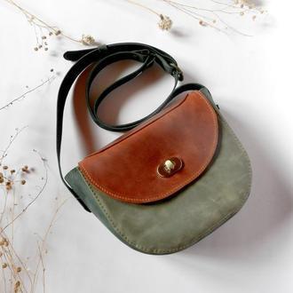 Кожаная сумка кроссбоди «Трава мурава»