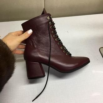 Ботинки кожа в цвете Бордо (марсала) на шнуровке (каблук)