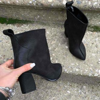 Ботинки кожаные на каблуке. Ботильоны весенние чёрные
