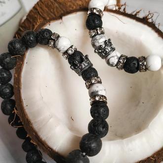 Парные браслеты ручной работы из натуральных камней ✨