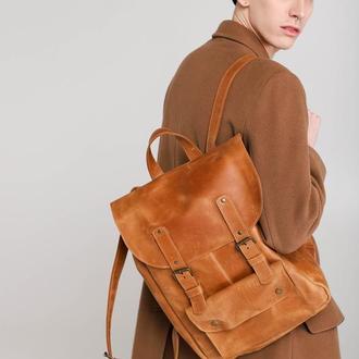 Кожаный рюкзак унисекс. Коричневый рюкзак из натуральной кожи