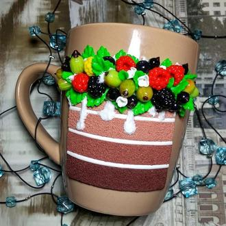 Чашка Тортик из полимерной глины